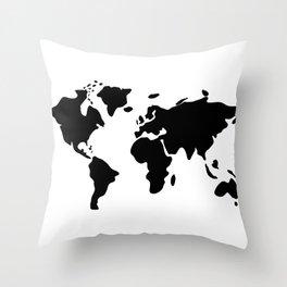 modern black world map Throw Pillow