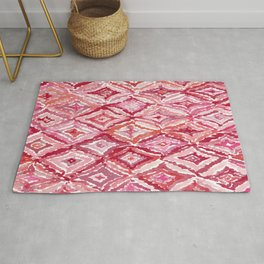Red BRIGHT LIKE A DIAMOND Moroccan Print Rug