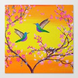 2 Birds with a Nest Canvas Print