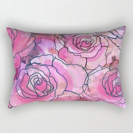 Pink Watercolor Roses Rectangular Pillow