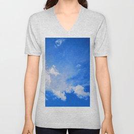 blue cloudy sky std Unisex V-Neck