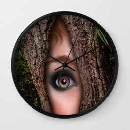 Beautiful Face trapped in a tree trunk Wall Clock