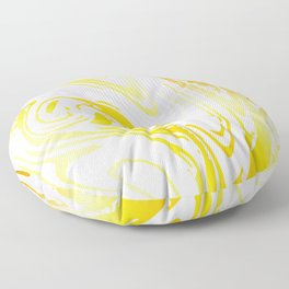 Luscious Yellow and Lemon Zest Caramel Swirl Marble Floor Pillow