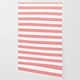 Peach Burst - solid color - white stripes pattern Wallpaper