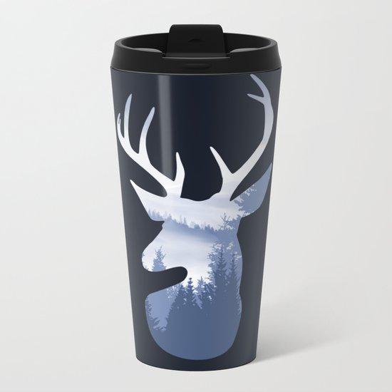 Deer Abstract Blue Landscape Design Metal Travel Mug