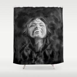Dancer in Darkness  (b&w digital painting) Shower Curtain