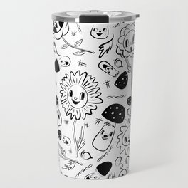 gnomes black and white Travel Mug
