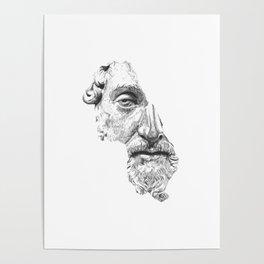 MARCUS AURELIUS ANTONINUS AUGUSTUS / black / white Poster