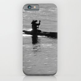 Rowing Row Boat Mekong River, Laos, Silhouette iPhone Case
