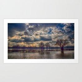 Winter Floods Cobham Art Print