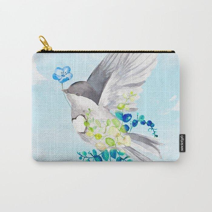 Little Bird Carries Blue Flower Carry-All Pouch