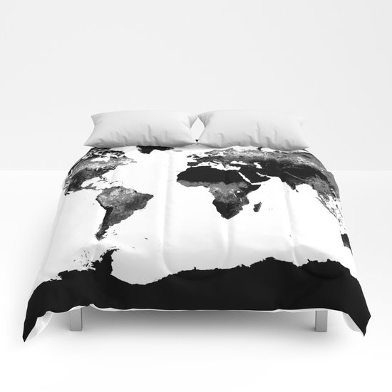 world map black white comforters by whimsy romance fun society6. Black Bedroom Furniture Sets. Home Design Ideas