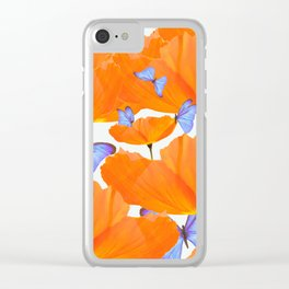 Poppies And Butterflies White Background #decor #society6 #buyart Clear iPhone Case
