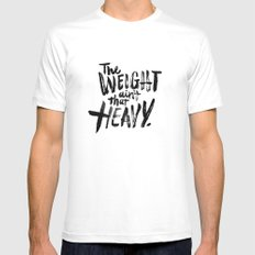 The Weight Ain't That Heavy MEDIUM White Mens Fitted Tee