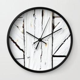 Art Deco White Wooden Gate Wall Clock