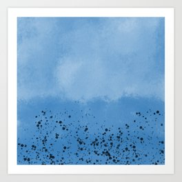 Abstract speckled background - blue Art Print