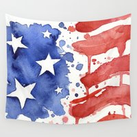american flag Wall Tapestries featuring American Flag Watercolor 'Merica! by Olechka