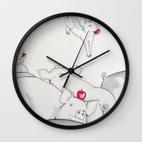 pigs Wall Clocks featuring Flying Pigs by Joshua James Stewart