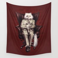 bond Wall Tapestries featuring You Only Live Nine Times by Eric Fan