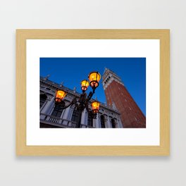 Morning at San Marco square. Campanile San Marco, Biblioteca Nazionale Marciana. Framed Art Print