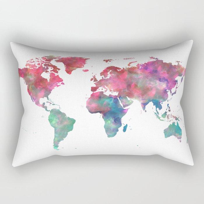 World Map Hot Pink Green Blue Rectangular Pillow