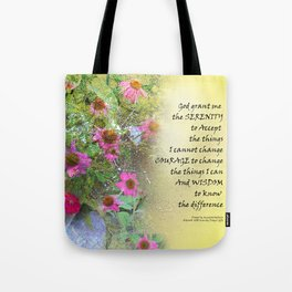 Serenity Prayer Pink Flowers on Yellow Tote Bag