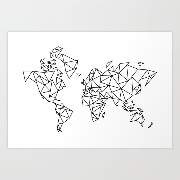 Geometric Low Poly Map Of The World Polygon Geometry Art Print By