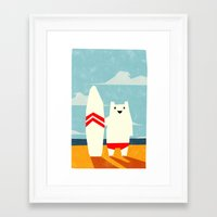 surf Framed Art Prints featuring Surf! by Yetiland