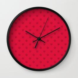 Burgundy Red on Crimson Red Snowflakes Wall Clock