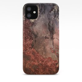 Copper Glitter Stone and Ink Abstract Gem Glamour Marble iPhone Case