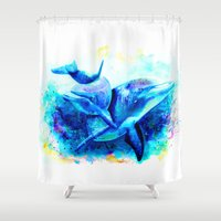 dolphins Shower Curtains featuring Dolphins by isabelsalvadorvisualarts
