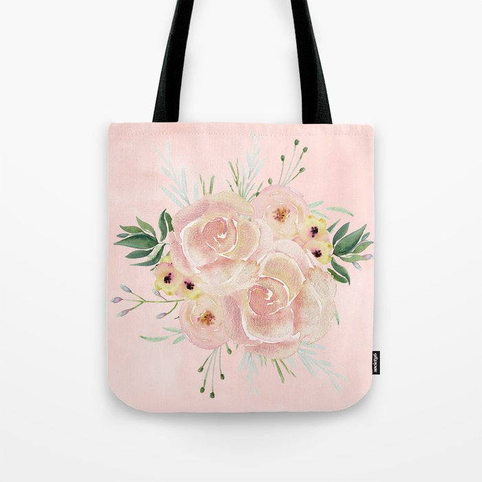 Wild Roses on Seashell Pink Watercolor Tote Bag