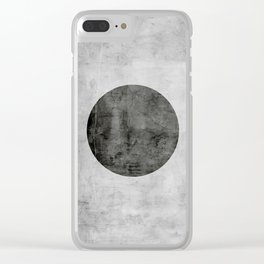 Concrete with black circle Clear iPhone Case