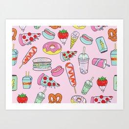 Pastel Junk Food Art Print