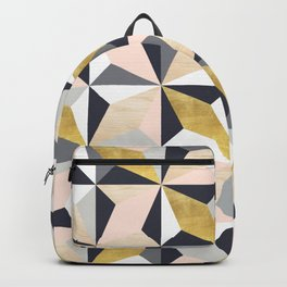 Pink, Grey, Gold and Wood Geometric Pattern Backpack
