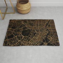Black and gold Tokyo map Rug