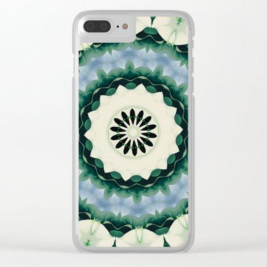 Cerulean Blue and Sacramento Green Mandala Clear iPhone Case