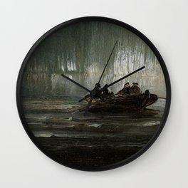 The Northern Lights over Four Men in a Rowboat by Peder Balke Wall Clock