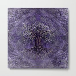 Tree of life -Yggdrasil Amethyst and silver Metal Print