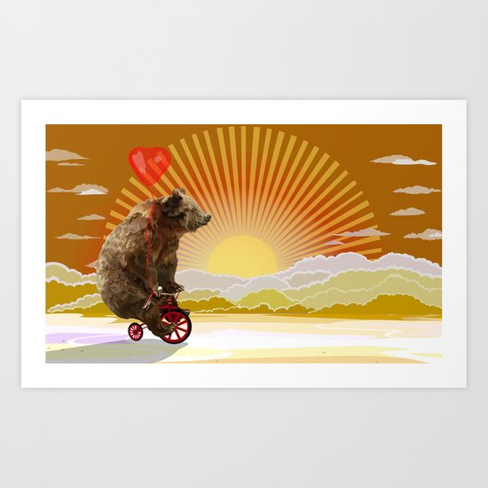 Big Bear with bicycle iPhone 4 4s 5 5s 5c, ipod, ipad, pillow case and tshirt Art Print