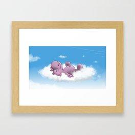 Archibald sleeping on the cloud Framed Art Print