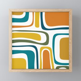 Palm Springs Midcentury Modern Abstract in Moroccan Teal, Orange, Mustard, Olive, and White Framed Mini Art Print