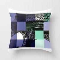 eiffel Throw Pillows featuring EIFFEL by Marcela Solana