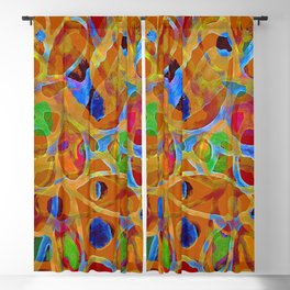 Orange Blue Green Color Blob Abstract Blackout Curtain