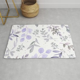 Modern lilac lavender gray watercolor floral leaves Rug