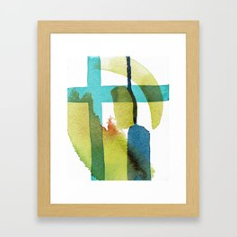 Blue and Yellow and Green Abstract Art Framed Art Print