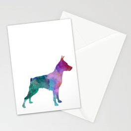 Miniature Pinscher dog in watercolor Stationery Cards
