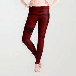 Red Velvet Dune Textile Folds Concept Photography Leggings