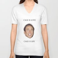 nicolas cage V-neck T-shirts featuring Cage is Love // Cage is Life by Jared Cady