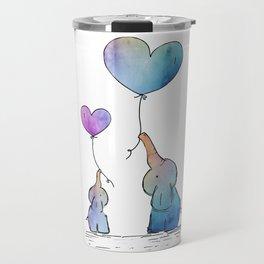Colorful Watercolor Elephants Love Travel Mug